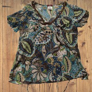 Jordache Multi Colorshort-sleeved blouse, large